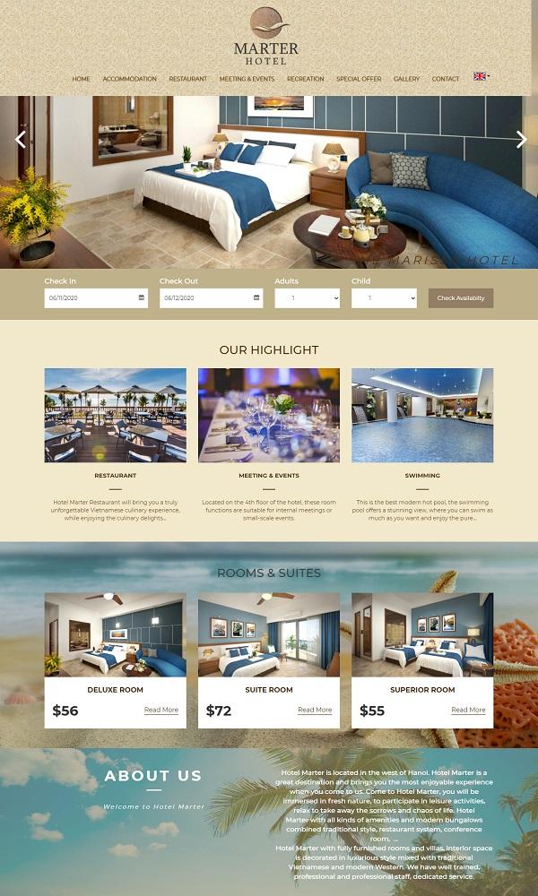 Mẫu website khách sạn, resort