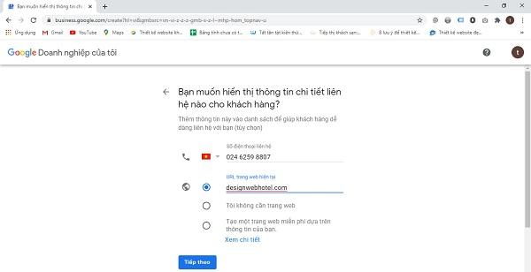 Đăng ký Google Map cho khách sạn