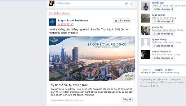 Quảng cáo khách sạn trên Facebook